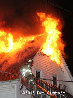 Pawtucket firefighters battle large house fire