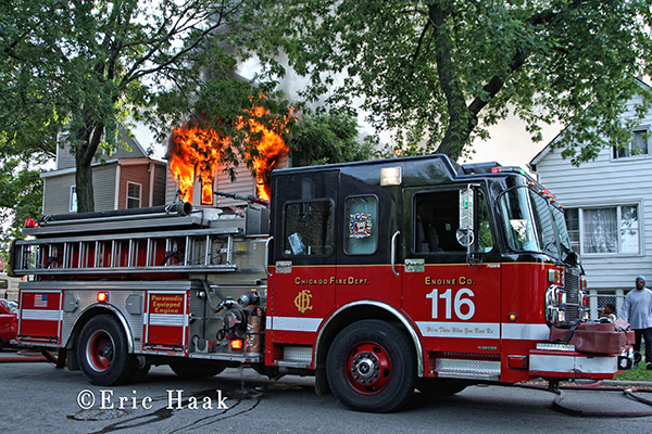 Chicago fire engine 116 in front of burning building