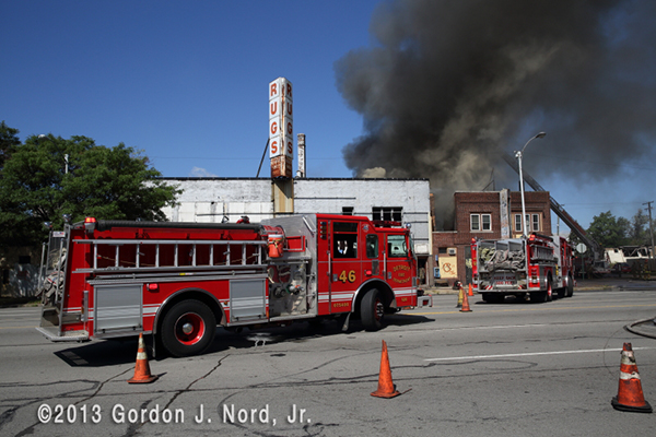 Detroit firemen battle commercial fire
