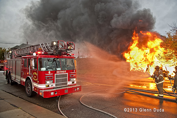Detroit firemen battle a commercial fire