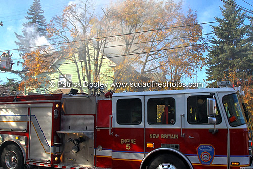 New Britain CT FD battles house fire