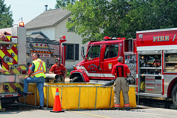 Fire on extremely hot day in Woolwich Township Ontario