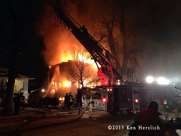 2-Alarm fire destroys vacant house in Maywood IL 12-23-13