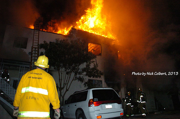 LAFD battles Major Emergency Apartment Fire in Echo Park that lams two lives