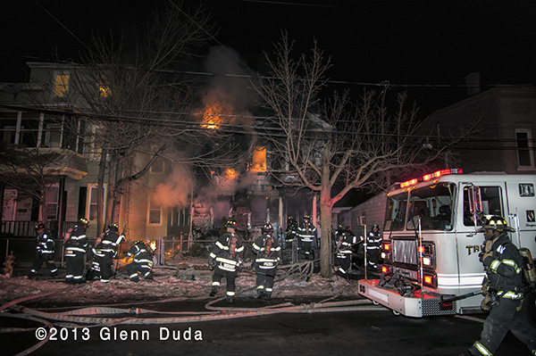 New Haven firefighters battle 2nd alarm house fire at night 12-19-13
