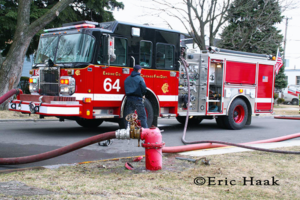 Chicago Fire Engine 64 at fire scene