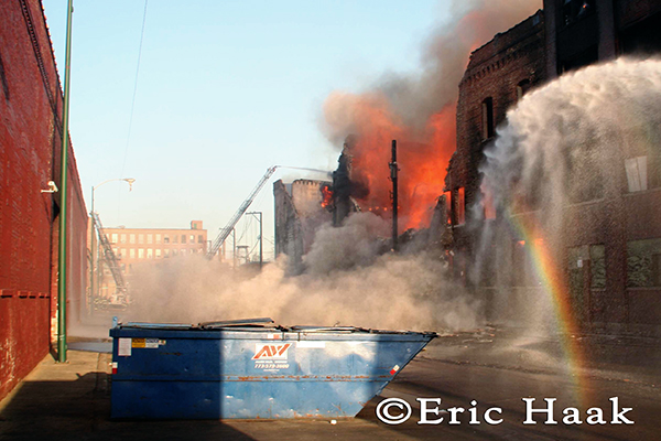 Chicago firefighters battle warehouse fire