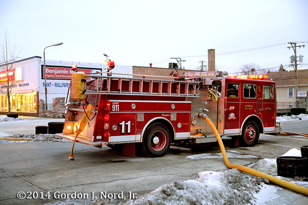 old Seagrave fire engine at winter fire scene