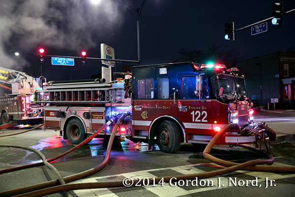 Chicago FD Engine 122 working at a fire scene