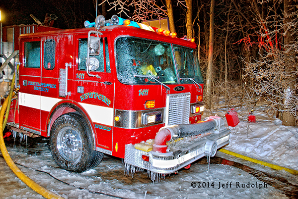 fire truck covered with ice