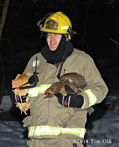 fireman rescues chicken from house fire