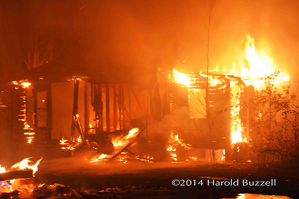 fully engulfed house fire
