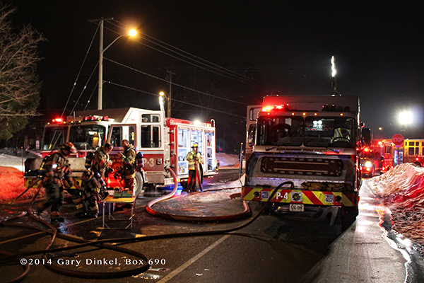 Canadian firefighters fight house fire at night