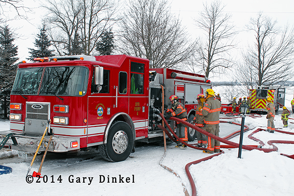 Pierce fire engine at winter fire scene