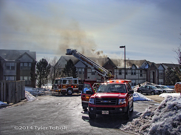 fire scene with apartment building