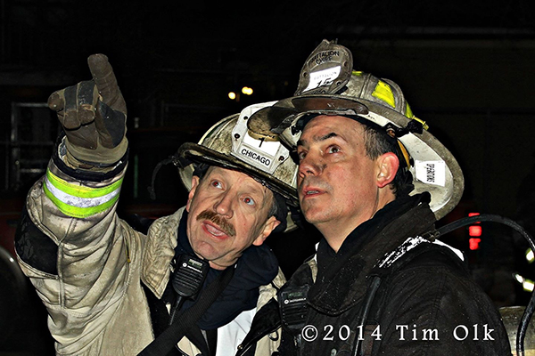 chief fire officers at night fire scene