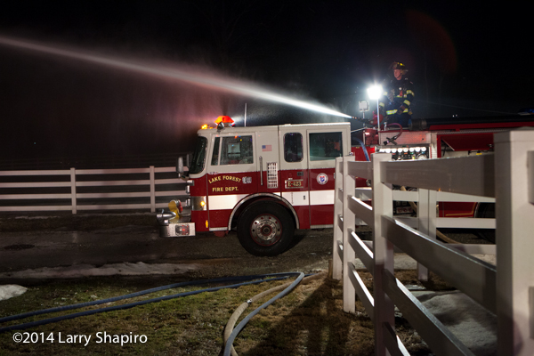 a deck gun from a fire engine works at night