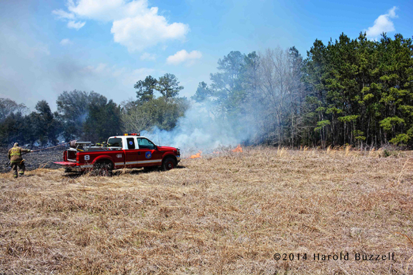 brush truck at field fire
