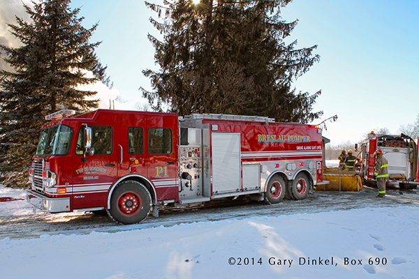 fire department water tanker shuttle water in the winter