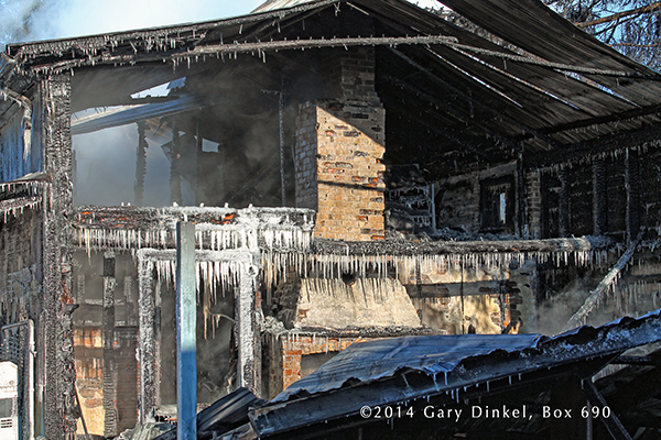 house destroyed by fire in the winter
