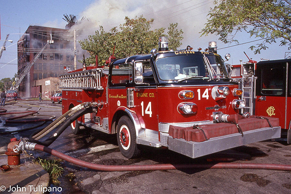 Chicaog American LaFrance fire engine pumping