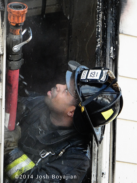 fireman closeup at fire scene