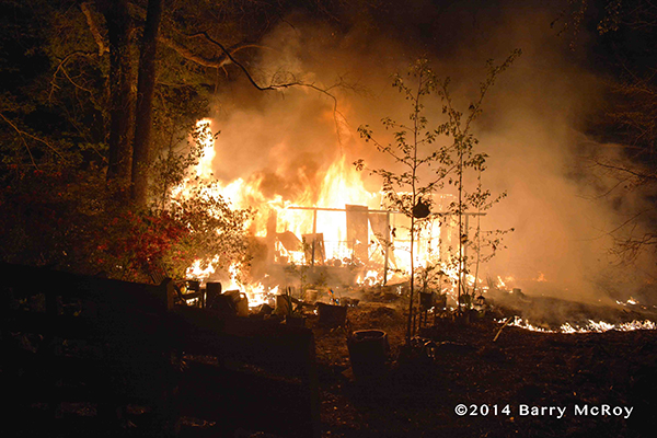 mobile home engulfed in flames