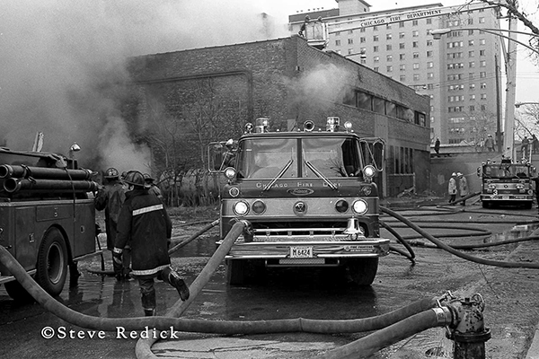 Chicago Ford fire engine at fire scene