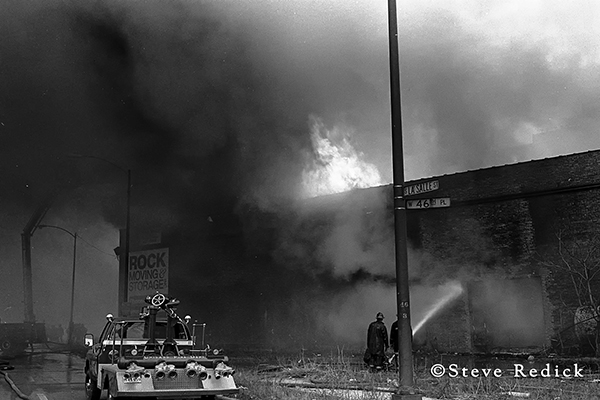 Chicago turret wagon at old fire scene