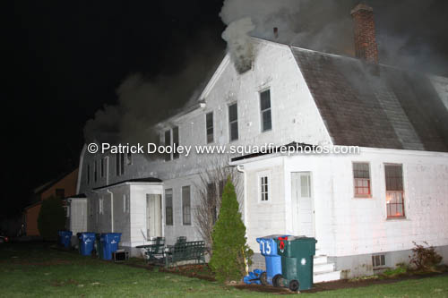 smoke from attic at night house fire