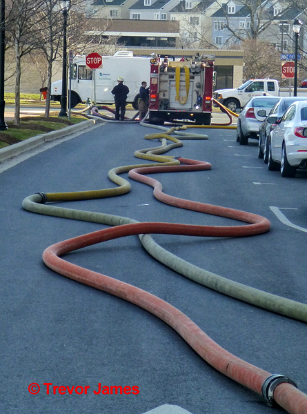 large diameter fire hose lines in the street