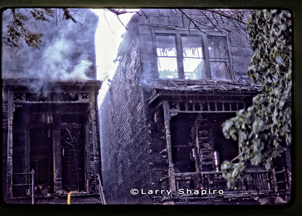 aftermath of a fire that destroyed several homes in Chicago in 1981