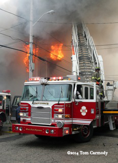 3-decker on fire in Providence 5-9-14