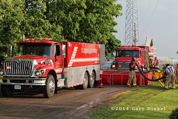 pumper tanker at fire scene