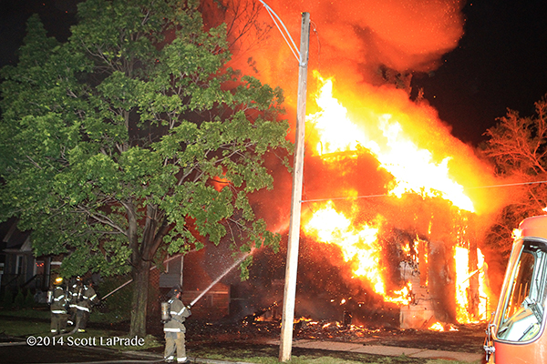Fully engulfed dwelling fire in Detroit