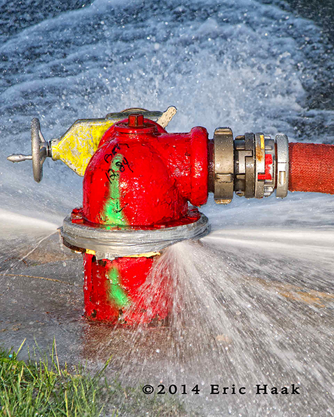 leaking fire hydrant during building fire