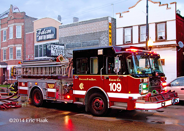 Chicago FD Spartan engine pumping at fire scene