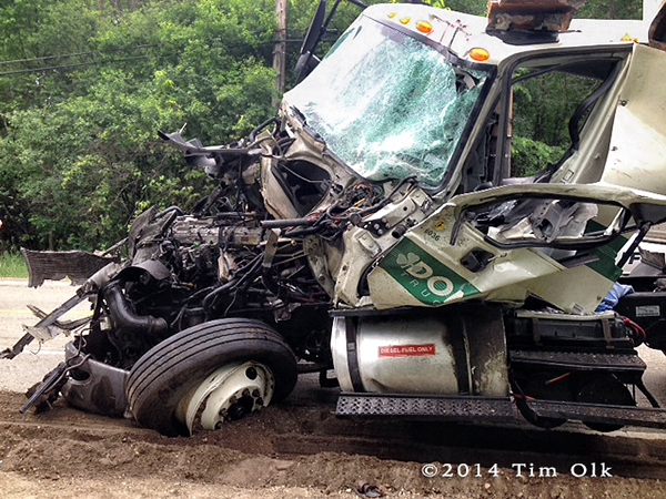 truck destroyed in collision