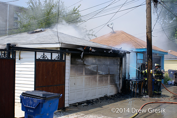alley garage fire in Cicero
