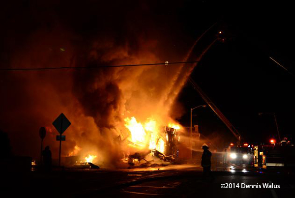 commercial fire at night in Detroit