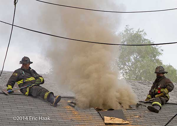 Firemen Vent Roof At House Fire Firescenes Net
