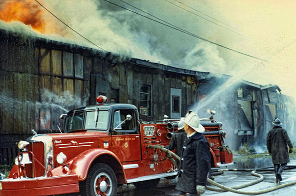 old Chicago fire scene photo with Mack L Series engine