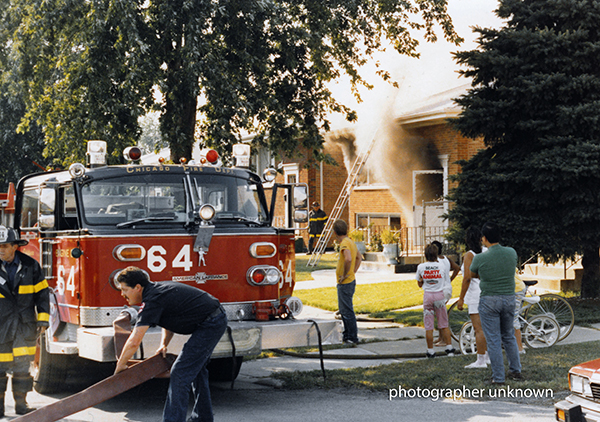 Classic Chicago fire scene from the 1980s. photographer unknown