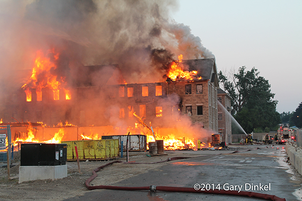 large fire in a multi-building construction site in Kitchener Ontario