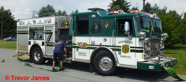 green and white fire engine from Frederick MD
