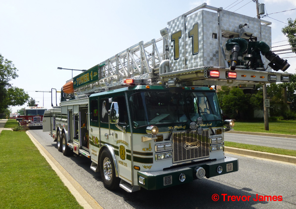 green and white fire truck from Frederick MD
