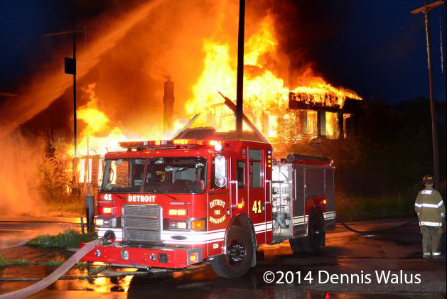 Two vacant dwellings are gutted by fire in Detroit