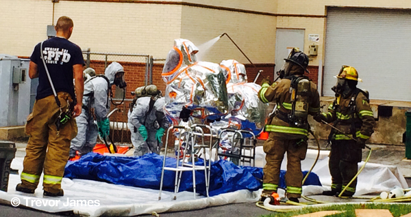 firefighters at hazardous materials incident