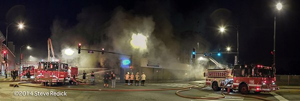 panoramic image of night fire scene