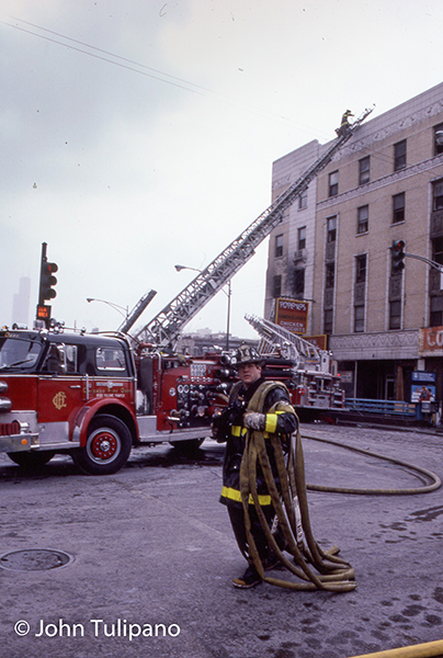 vintage Chicago fire scene photo